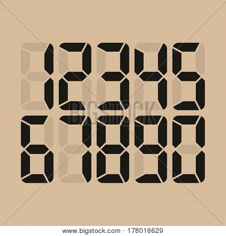 Digital Glowing Numbers Vector. Electronic Figures. LCD Numbers For A Electronic Device