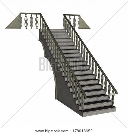 Grey staircase isolated in white background - 3D render
