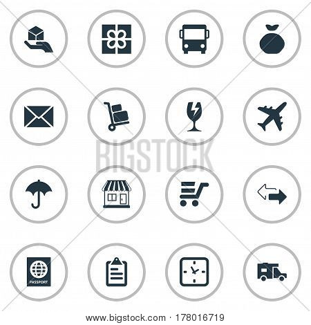 Vector Illustration Set Of Simple Delivery Icons. Elements Pushcart, Envelope, Packaging And Other Synonyms Holdall, Message And Clock.