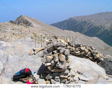 Mytikas is the highest peak of Olympus Greece.