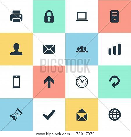 Vector Illustration Set Of Simple Apps Icons. Elements User, Computer Case, Notebook And Other Synonyms Printer, Hourglass And Orb.