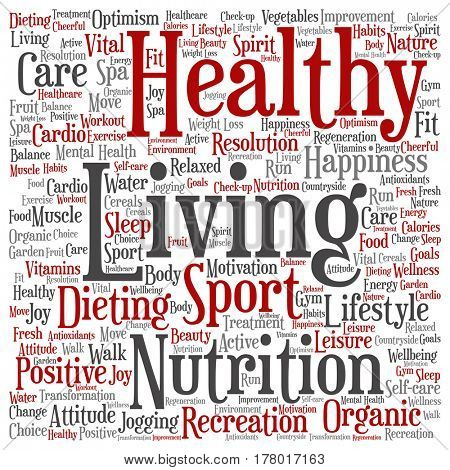 Concept or conceptual healthy living positive nutrition or sport square word cloud isolated on background
