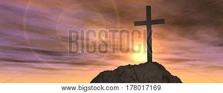 Concept or conceptual 3D illustration cross religion symbol shape on sunset sky, clouds background banner
