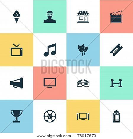 Vector Illustration Set Of Simple Cinema Icons. Elements Action, Spectator, Structure And Other Synonyms Megaphone, Sundae And Cinema.