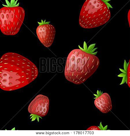 Vector strawberry seamless pattern. Red strawberries on Black background