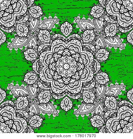 Oriental style arabesques. White textured curls. Colored pattern on green background with white elements. Vector white pattern.
