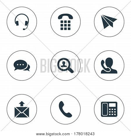 Vector Illustration Set Of Simple Contact Icons. Elements Aircraft, Speaking Human, House Phone And Other Synonyms Job, Headphones And Postage.