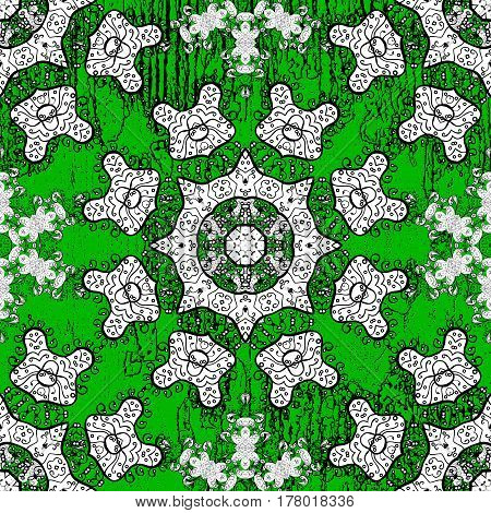 Vector white textile print. Islamic design. White pattern on green background with white elements. Pattern oriental ornament. Floral tiles.