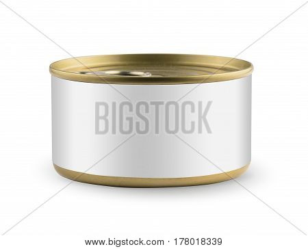 White blank tincan gold metal Tin Can, canned Food. Isolated on white background. Ready for your design. Real product packing.