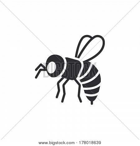 Bee wasp icon vector filled flat sign solid pictogram isolated on white. Symbol logo illustration