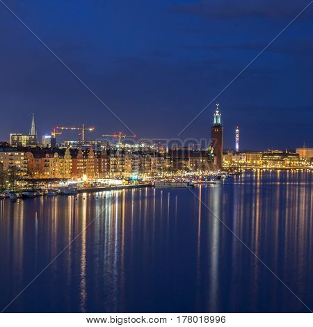 Stockholm, Sweden, Europe by night