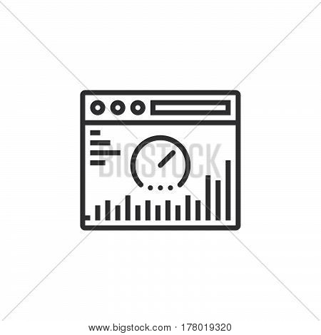 Website analysis line icon outline vector sign linear pictogram isolated on white. logo illustration