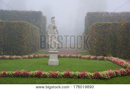 Misty autumn morning in Catherine Park in Tsarskoe Selo