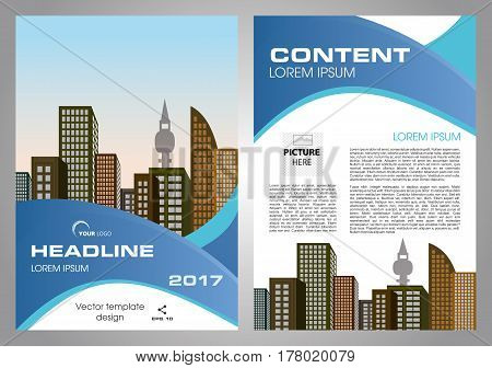 Vector flyer corporate business annual report brochure design and cover presentation with blue wave.