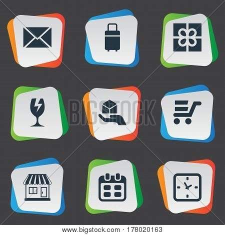 Vector Illustration Set Of Simple Handing Icons. Elements Packaging, Day, Pushcart And Other Synonyms Gift, Watch And Date.