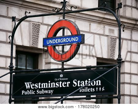 London 20 March 2017: London Westminster underground station in London. The station is the main access to the Houses of Parliament, home to the British government.