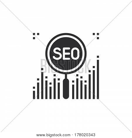 SEO Symbol. Search Engine Optimization icon vector filled flat sign solid pictogram isolated on white logo illustration