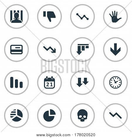 Vector Illustration Set Of Simple Situation Icons. Elements Head Bone, Penitentiary, Graph Decreases And Other Synonyms Thumb, Plastic And Circular.