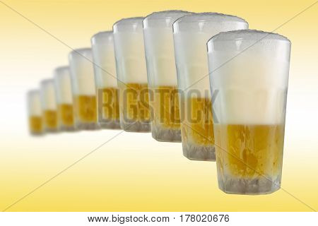 Cold beer in line with gradient background