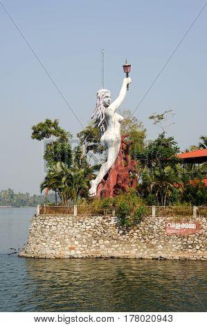 Kollam India - 20 January 2015: Statue on the garden of a house near Kollam on Kerala backwaters