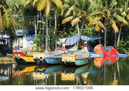 Kollam, India - 20 January 2015: Fishing boat on the river near Kollam on Kerala backwaters India