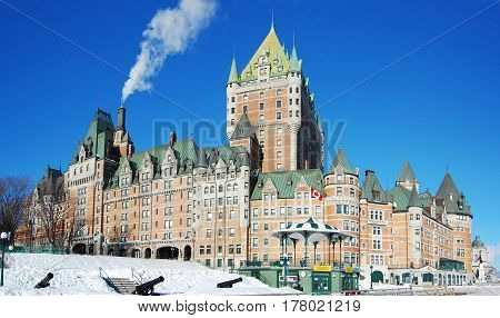 Chateau Frontenac, dominate the skyline of Quebec City, a French-style castle hotel builded in 1893, landmark of Quebec City, Canada