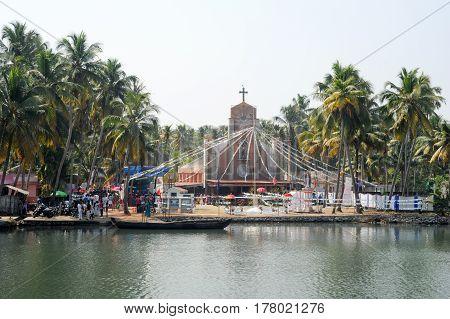 Kollam India - 20 January 2015: Decorated church near Kollam on Kerala backwaters India