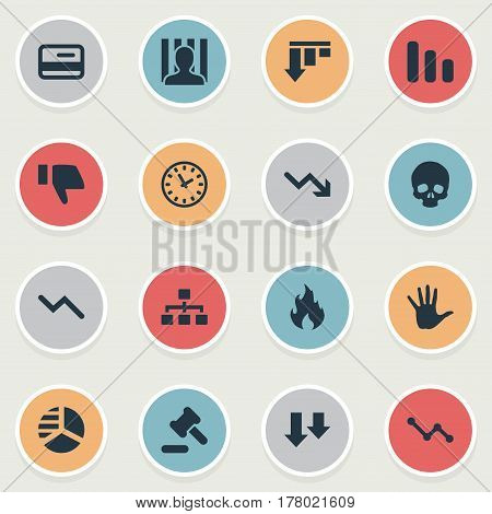 Vector Illustration Set Of Simple Impasse Icons. Elements Tribunal, Net, Info Graph And Other Synonyms Head, Bone And Jailer.