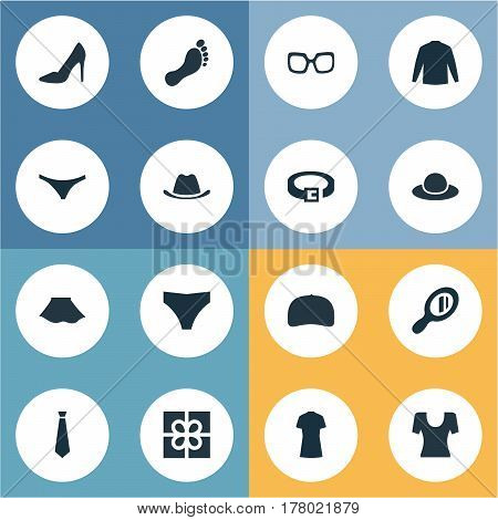 Vector Illustration Set Of Simple Garments Icons. Elements Present, Eyeglasses, Footwear And Other Synonyms Hat, Footwear And Male.