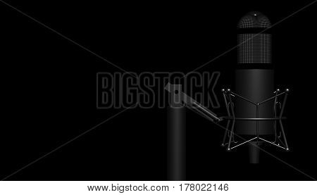 Retro modern aluminium music microphone. 3d rendering