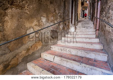 Sciacca, Italy - October 18, 2009: The Staircase That Descends From The Square To The Marina In Scia