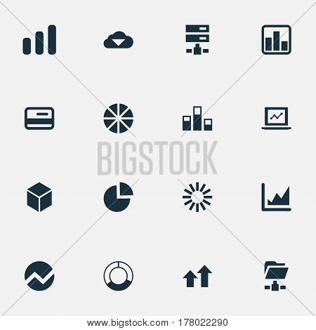 Vector Illustration Set Of Simple Data Icons. Elements Pie Chart, Increase Graph, Hosting And Other Synonyms Progress, Radial And Analytics.