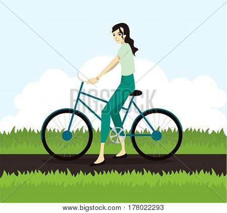 Active young woman riding on bicycle. Tourist riding on bicycle. Flat character illustration