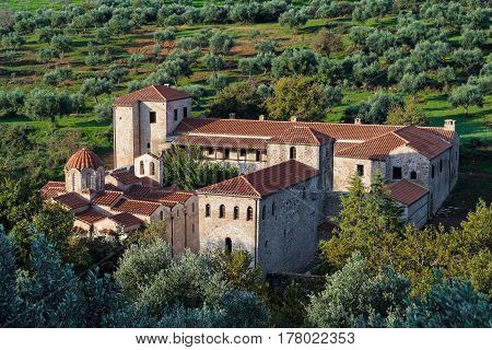 View of the monastery complex of Andromonastiro in Peloponnese, Greece