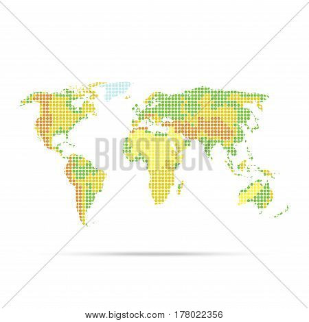 Simple physical world map with indicating relief dotted multicolor vector illustration isolated on white background