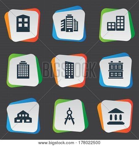 Vector Illustration Set Of Simple Architecture Icons. Elements Construction, Block, Residential And Other Synonyms Flat, Residential And Cottage.