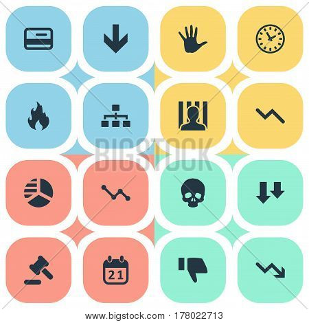 Vector Illustration Set Of Simple Trouble Icons. Elements Descending, Down Cursor, Round Graph And Other Synonyms Court, Hammer And Hand.