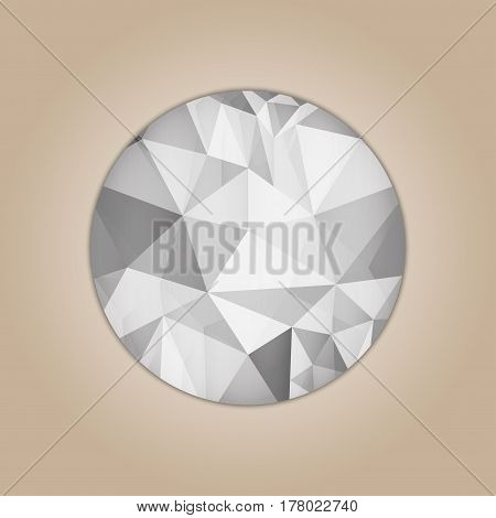 Diamond round shape grayscale color abstract polygonal vector illustration isolated on beige background