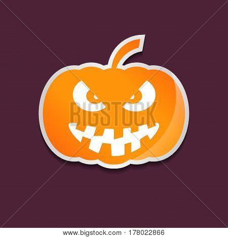 Halloween orange pumpkin sticker isolated over violet background