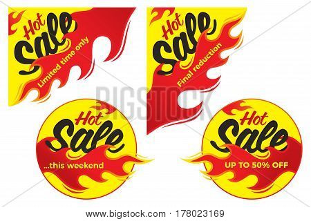 Hot sale price offer deal vector labels stickers. Corner form with flame. Vector illustration