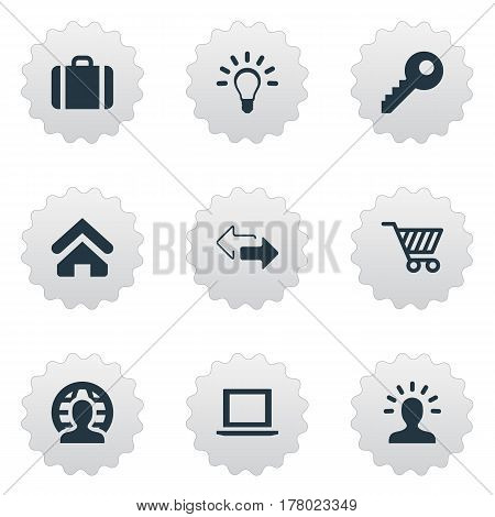 Vector Illustration Set Of Simple Commerce Icons. Elements User, Bulb, Handbag Synonyms Member, Location And Arrow.