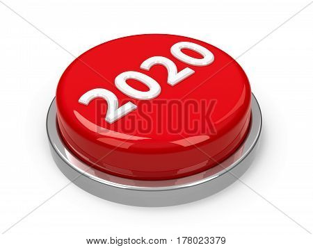 Red 2020 button isolated on white background three-dimensional rendering 3D illustration