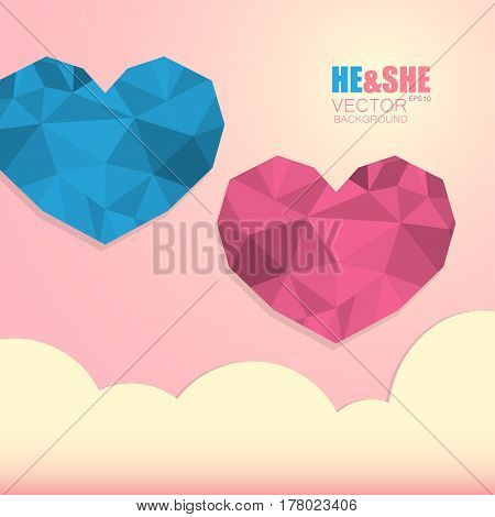 Two polygonal hearts symbol of man and woman isolated on light pink background with clouds and the inscription