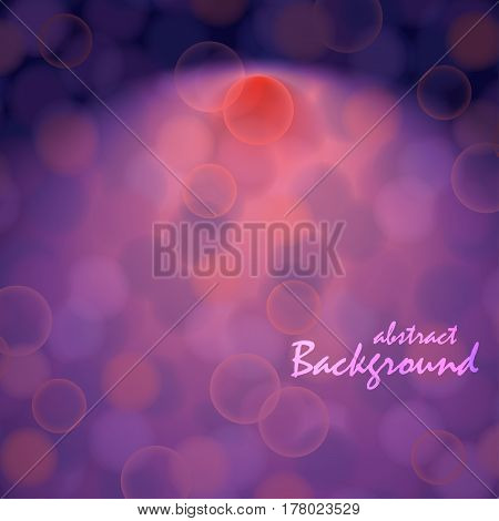 Vector abstract background with bokeh effect on purple backdrop and light shine