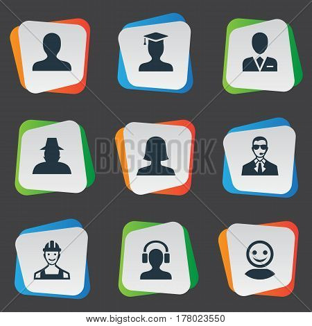 Vector Illustration Set Of Simple Member Icons. Elements Agent, Bodyguard, Male With Headphone And Other Synonyms Postgraduate, Male And Man.