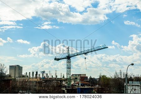 Crane On Industrial Construction Yard