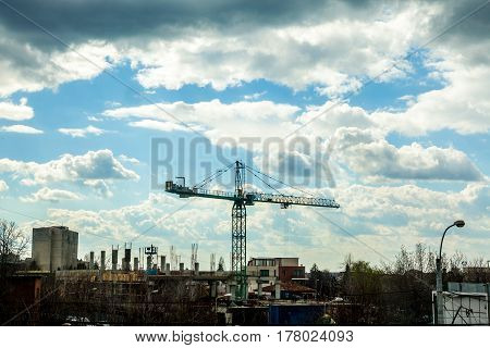 Construction Crane On Industrial Yard
