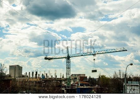 Iron Crane On Industrial Construction Yard