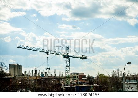 Commercial Crane On Industrial Construction Yard