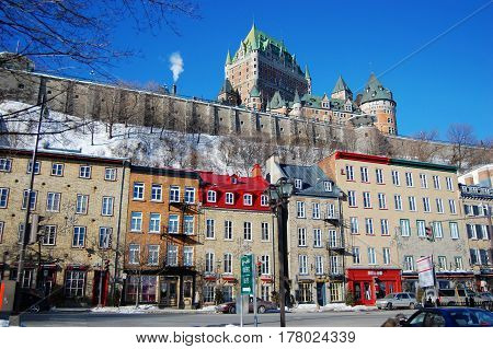 Chateau Frontenac in Quebec City in winter, Quebec City, Canada.